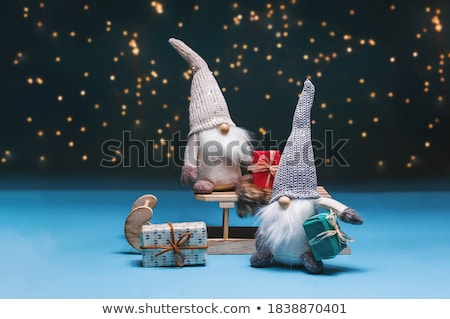 Christmas composition with wooden star and sleigh Stock photo © Melnyk