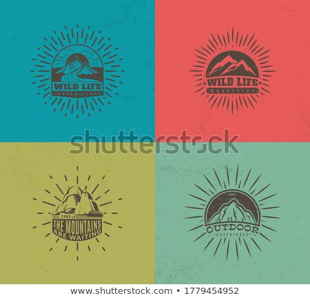 Color vintage mountaineering poster Stock photo © netkov1