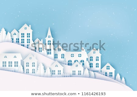 Christmas scène dorp banner Blauw Stockfoto © liolle