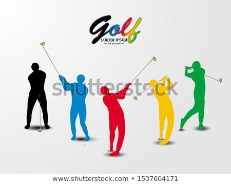 jogador · de · golfe · condução · para · baixo · céu · grama - foto stock © bluering