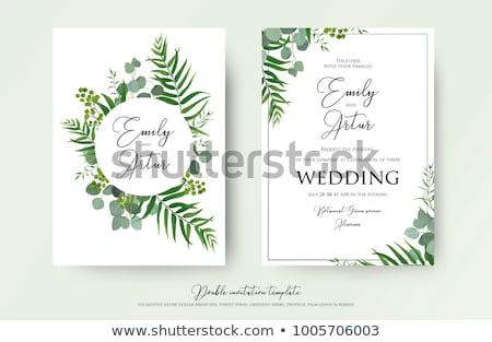 Esküvői meghívó terv levelek virágzik dekoráció fekete Stock fotó © SArts