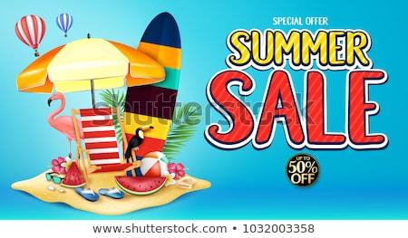 Verano venta diseno palmeras gafas de sol isla tropical Foto stock © articular