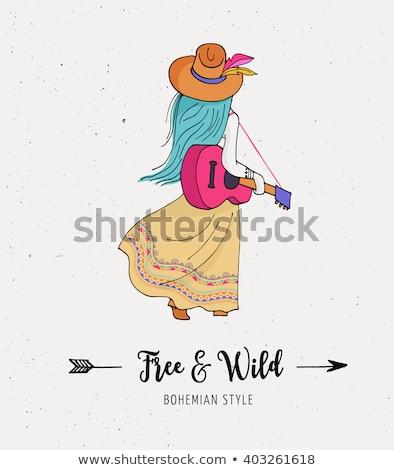 Bohemian fashion girls , bunny and cats, boho style Stock photo © marish