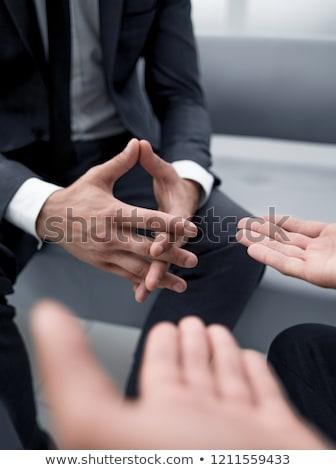 Dwa biznesmenów patrząc sprawozdanie dyskusji Zdjęcia stock © Freedomz