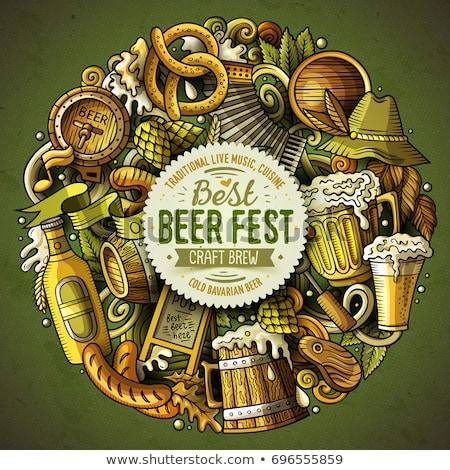 Stockfoto: Cartoon Doodles Beer Fest Illustration Oktoberfest Funny Round Picture