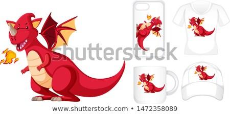 piros · sárkány · illusztráció · vicces · szimbólum · év - stock fotó © bluering