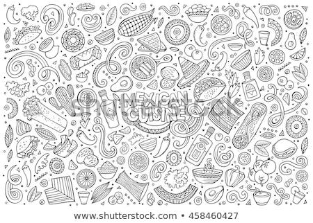 set of mexican food cartoon doodle objects stock photo © balabolka