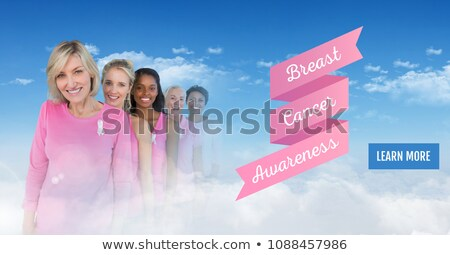 learn more button with text of breast cancer awareness women with transition of sky stock photo © wavebreak_media