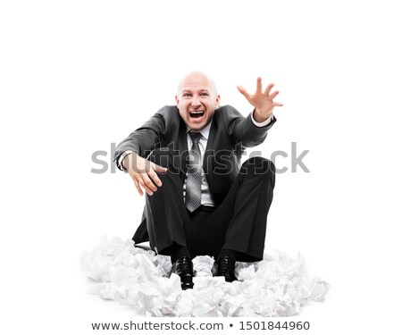 Loud shouting or screaming tired stressed businessman gesturing helping hand Stock photo © ia_64
