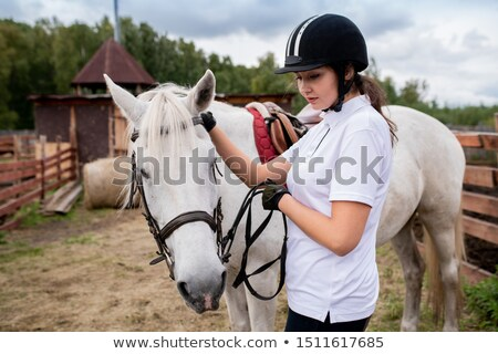 Active girl in equestrian helmet and her racehorse moving down field Stock photo © pressmaster