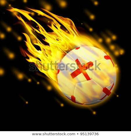 soccer ball on fire with france and Netherlands flag Stock photo © doomko