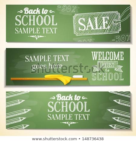 Back to school banner color pencils on blackboard Stock photo © cienpies