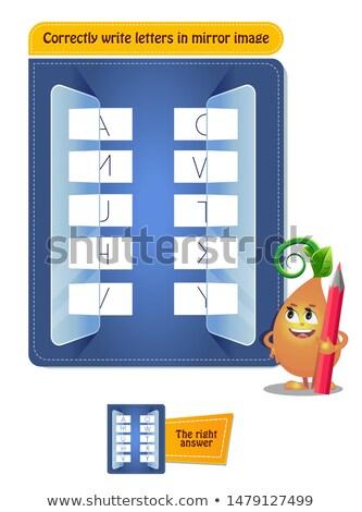 Scrivere lettere specchio immagine educativo gioco Foto d'archivio © Olena