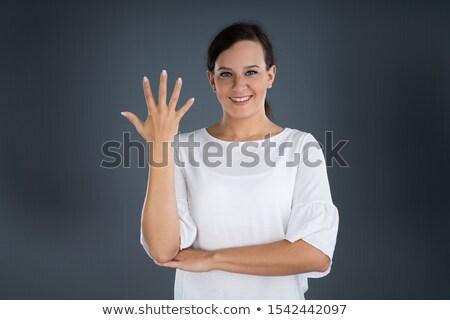 Mujer lenguaje de signos comunicarse palabra árbol Foto stock © AndreyPopov