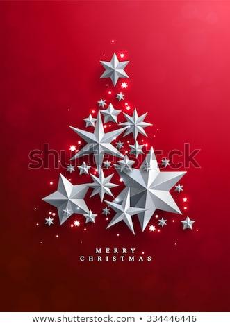 Vidám karácsonyfa terv tél kék csillag Stock fotó © SArts