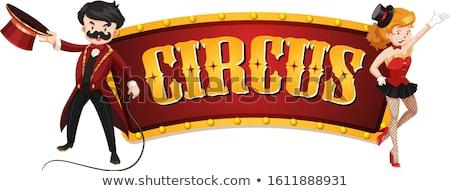 Fronteira modelo circo anel mestre ilustração Foto stock © bluering