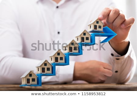 Businessman Placing House Models On Increasing Arrow Staircase Stock photo © AndreyPopov