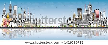 Outline Vienna Skyline with Blue Buildings Copy Space. Stock photo © ShustrikS