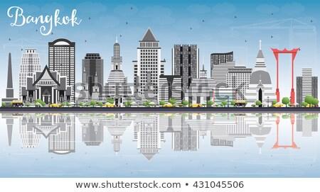 Bangkok ufuk çizgisi gri mavi gökyüzü yansımalar Stok fotoğraf © ShustrikS