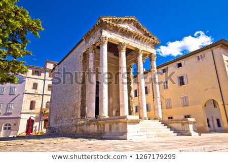 Pula. Forum square and roman Temple of Augustus view Stock photo © xbrchx