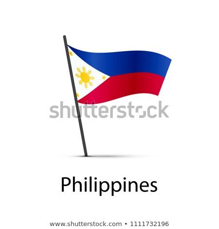 Filipinas bandeira pólo elemento branco Foto stock © evgeny89