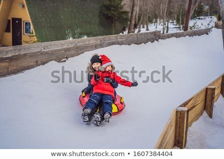 Mama syn nadmuchiwane zimą rury zabawy Zdjęcia stock © galitskaya