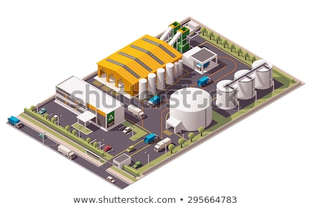 Recycle Factory Ecology Industry Isometric Icons Set Vector Stock photo © pikepicture