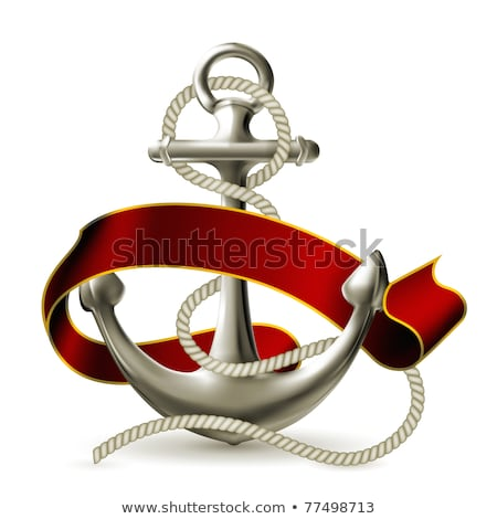 White anchor, ribbon and rope 3D Stock photo © djmilic