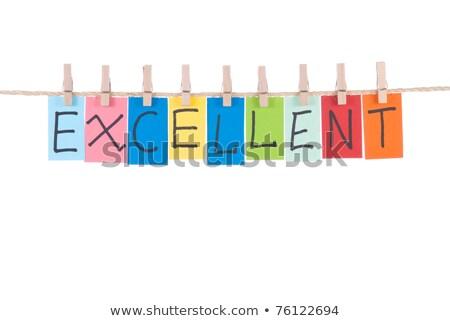 Kitűnő szavak fából készült szeg papír kártya Stock fotó © Ansonstock