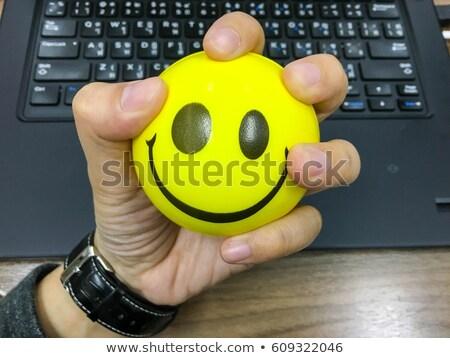 Cara estrés pelota amarillo blanco fondo Foto stock © mybaitshop