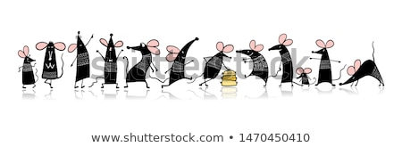 Szczęśliwy myszą Święty mikołaj hat zabawy dar Zdjęcia stock © ancello