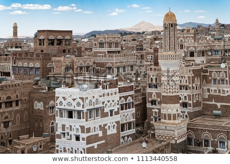 sanaa yemen   traditional yemeni architecture stock photo © travelphotography