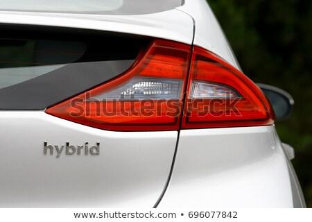 Híbrido coche hoja verde carretera verde hojas Foto stock © xedos45