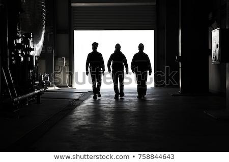 Ipari munkás sziluett kép bent cső Stock fotó © gregory21