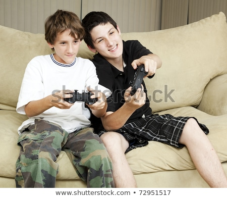 Jeunes console de jeux ordinateur paysage amis adolescents Photo stock © photography33
