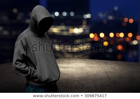 Fiatalember kapucnis felső arc pihen portré Stock fotó © photography33