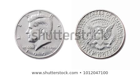 negyed · dollár · érme · izolált · fehér · vágási · körvonal - stock fotó © backyardproductions