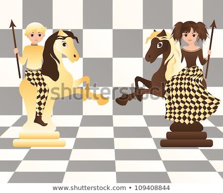 Stock photo: Little black chess horse, vector illustration