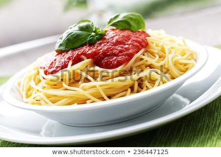tatsty fresh spaghetti with tomato sauce and parmesan isolated Stock photo © juniart