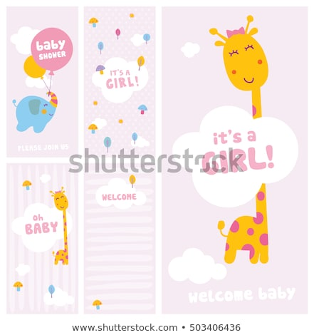 new baby girl shower card with elephant stock photo © balasoiu