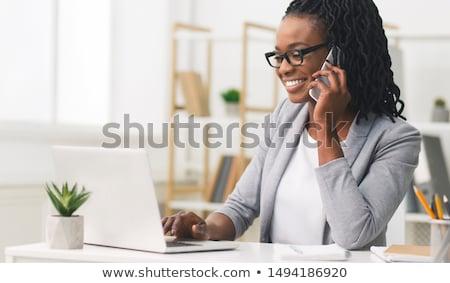 mujer · ingeniero · celular · aislado · blanco · teléfono - foto stock © broker