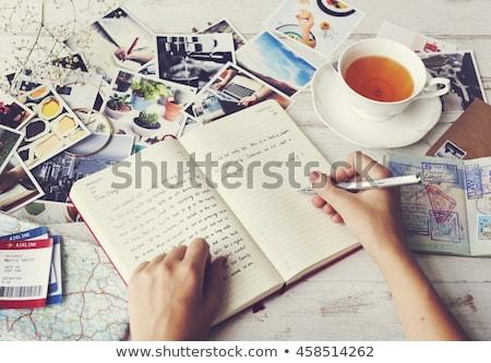 Utazás napló papír toll fehér jegyzet Stock fotó © HectorSnchz