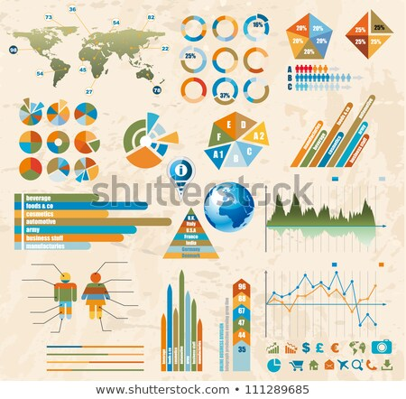 Foto stock: Premium Retro Infographics Master Collection Graphs Histograms Arrows Chart 3d Globe Icons And