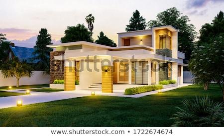 nuova · casa · fronte · esterno · casa · paesaggistica · home - foto d'archivio © prg0383