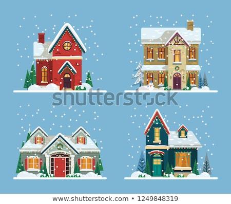 karácsony · ház · díszített · fények · karácsonyfa · csillag - stock fotó © kovacevic