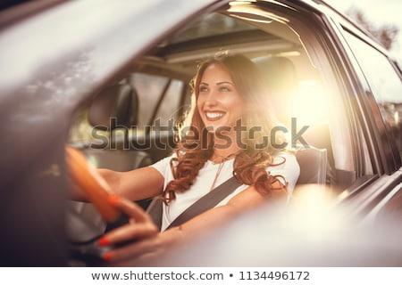 Foto stock: Mulher · carro · mão · modelo · madeira