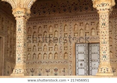 Plaats Rood fort paleis bloem muur Stockfoto © Mikko