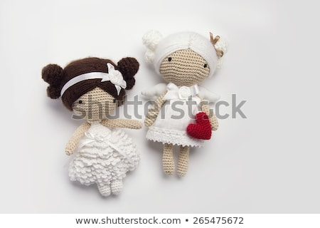 Beautiful girl with toy heart. stock photo © Massonforstock