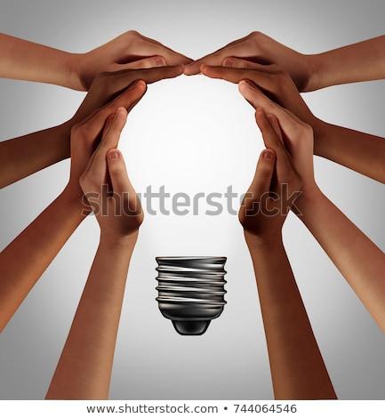 Stockfoto: 3d · mensen · verlichting · lamp · hand · grijs · abstract