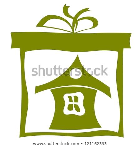 családi · otthon · sziluett · család · ikon · ház · üzlet - stock fotó © larser